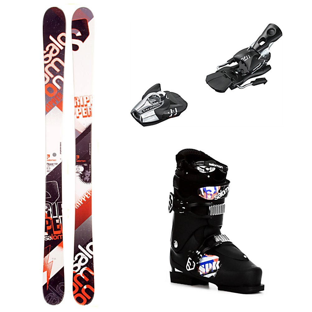 Ski Salomon Ripper Ski Package - The Salomon Ripper Ski Package is a perfect beginner to intermediate skis, binding and boot combo. The Salomon Ripper Skis have a twin tip design so they are mostly for use in the park but they do offer some all mountain capabilities as well. Traditionally cambered there is plenty of spring and pop in the ski for lightweight or less aggressive skiers. Wide edges increase durability and improve shock resistance. The lightweight composite core is forgiving and mellow for building confidence, and reducing fatigue. The Z11 Bindings have a vertical progressive pivot offering a controlled release for backward falls which in turn gives you protection and confidence to heighten your speed and fun. The Salomon SPK 75 Boots are one of the best freestyle boots out there. You'll have a ThermicFit Liner which is stiff and tough. An extra padded spoiler, two density heel cushioning reduces the vibrations from stomped landings. The Salomon Cushioning System is a soft toe insert in the toe box to lower the chances of losing a toe nail when you come down on the tails of your skis in the back seat. Plenty of bang for your buck, you'll get tons of value and performance when you step into the Salomon Ripper Ski Package. . Tip/Waist/Tail Widths: 122/85/112mm (@ 161cm), Actual Turn Radius @ Specified Length: 16.3m (@ 161cm), Lining Material: ThermicFit Liner, Core Name: Composite, Actual Flex: 75, Cuff Alignment: None, Type: Freestyle Skis, Gender: Mens, Construction Type: Cap, Base Material: Sint - $469.99