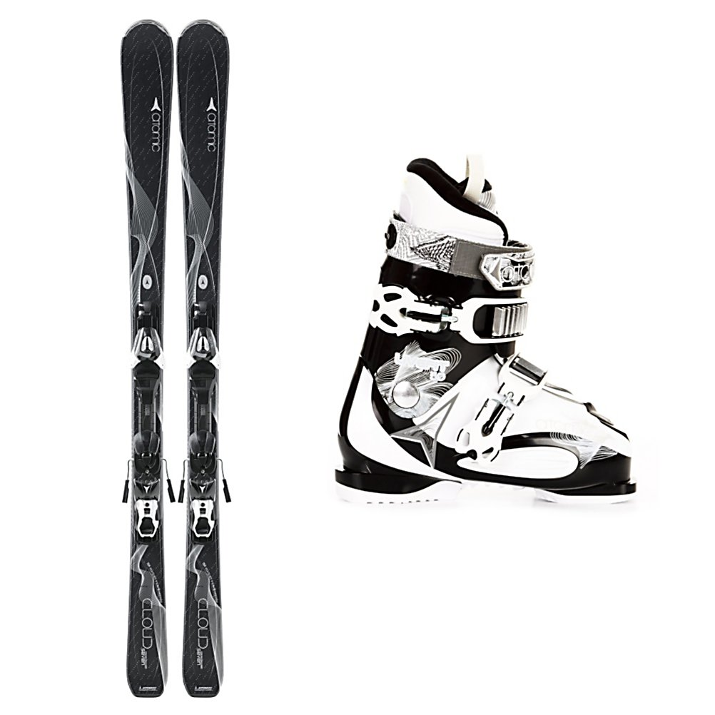 Ski Atomic Cloud 7 Womens Ski Package 2013 - The Atomic Cloud Seven Ski Package is a great ski, boot and binding combo for the beginner who is ready for her first system ski. The Cap Fiber Construction on the Atomic Cloud Seven Skis is very light and forgiving which makes it very easy to turn and react. You'll have a tip rocker so that it initiates turns even quicker than before and a camber under foot which provides the ski with a quick and responsive feel as well as ample edge grip when the groomed trails get firm. For boots, this package offers the Atomic Live Fit 50 Ski Boots. They have a soft flex and a medium to wide fit in both the foot and shaft of the leg. Two Live Fit Zones are on the inside and outside of the foot that adapt to the shape of your foot when it is placed inside the boot. This allows for better balance, warmer toes, and more control over your feet. Two Polycarbonate Buckles and a 35mm strap make the Live Fit 50 really easy to enter and exit and keeps your foot in place for control over your skis and all day comfort. The Atomic Cloud Seven Ski Package is perfect for all the greens and mellow blue trails that you like when you want a fun and relaxing day on the beautiful snow-covered mountains. . Tip/Waist/Tail Widths: 121/72/97mm (@ 154cm), Actual Turn Radius @ Specified Length: 12.5m (@ 154cm), Lining Material: ASY Comfort Liner, Core Name: Composite, Actual Flex: 50, Cuff Alignment: None, Type: Frontside Skis ( - $431.98