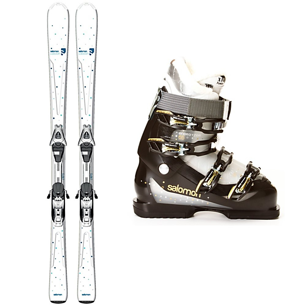 Ski Salomon Origins Lagoon Womens Ski Package - The Salomon Origins Lagoon Ski Package is made for the beginner skier or teen getting into her first pair of adult skis. The Salomon Origins Lagoon Skis have tons of technology to keep you advancing and progressing. The Composite Monocoque Cap Construction is lightweight and forgiving without being too flimsy and the Pulse Pad Dampening System has elastomers along the edge of the ski for smoother ski to snow contact. Salomon's 3D Stealth Tip is has a flat contact angle to the snow allowing the ski to roll over terrain variations and keep the front of the ski to be smooth and chatter free. The Salomon Divine 65 Ski Boots are stylish and comfy. Its X FIT Fusion Advanced liner adds an enormous amount of warmth and comfort with it's thermoform technology and wool lining. The liner is also outfitted with stylish faux fur making entry and exit of the boot effortless. Comfort and performance as well as lightweight and forgiving the Salomon Origins Lagoon Ski Package is perfect for any beginner looking to progress confidently and comfortably on the slopes. . Tip/Waist/Tail Widths: 123/74/103mm (@ 159cm), Actual Turn Radius @ Specified Length: 12.4m (@ 159cm), Actual Flex: 65, Type: Frontside Skis ( - $449.98