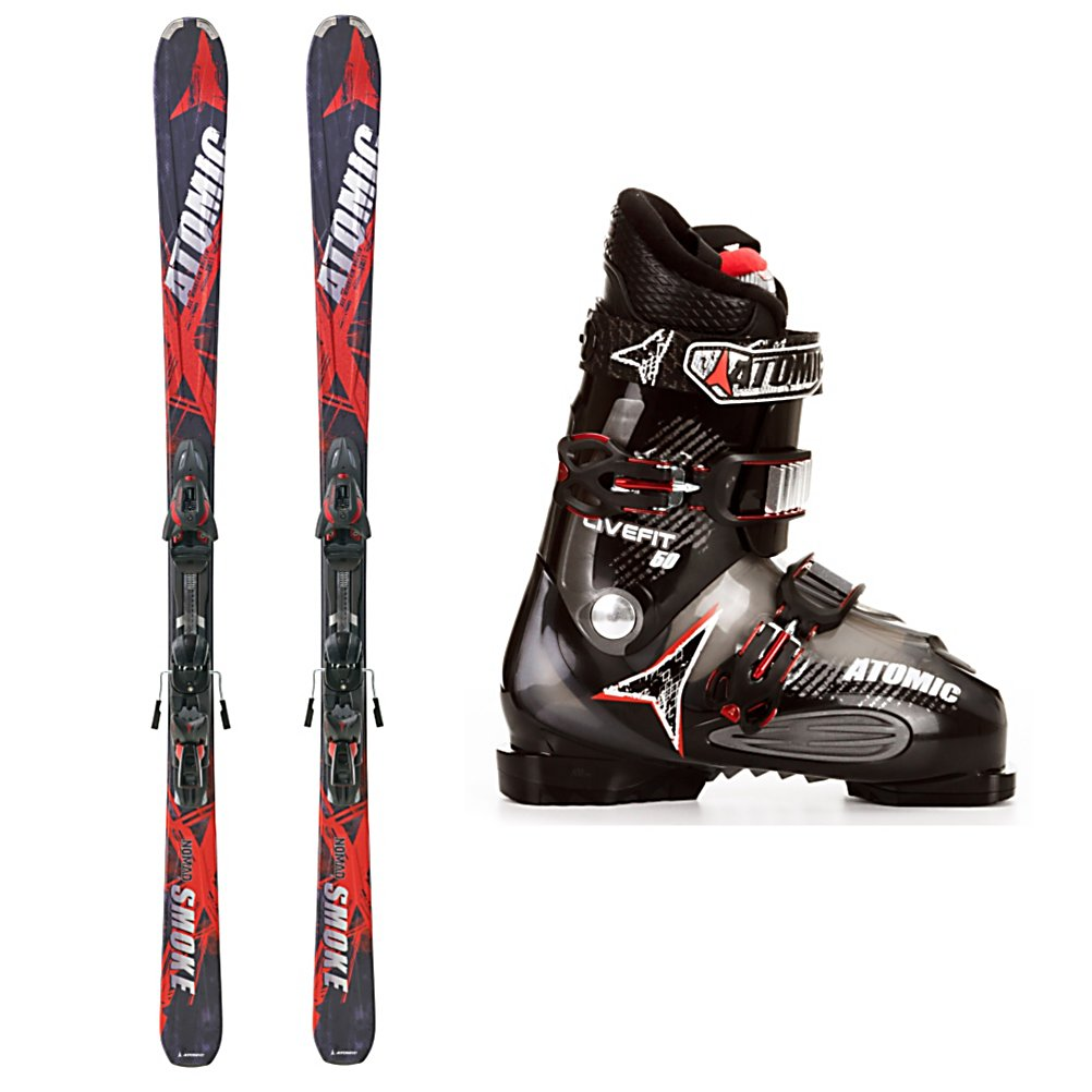 Ski Atomic Smoke Ski Package - The Atomic Smoke Ski Package is a great combination of skis, bindings and boots for the true beginner or teen who is ready for their first system ski. The Atomic Smoke Skis boast a Cap Fiber construction that is very forgiving so the lightweight or mellow skier can turn without wasting a lot of energy. The All Mountain Rocker has camber underfoot that will give you control and some spring to your turns while the rocker in the tip will help you initiate turns easier so you will be carving in no time. The Step Down Sidewalls underneath the binding plate act as a dampening system to reduce negative vibrations and increase the edge grip for a more stable ride at slow to medium speeds. The Atomic Live Fit 50 Ski Boots has two Live Fit Zones that are on the inside and outside of the foot that stretch out when your foot is placed inside the boot giving you better balance, warmer toes, and more control over your skis. The Asymmetrical Comfort Liner is soft and cushy and a squared off toe box accommodates all foot shapes. If you're a true beginner or looking for your first real set of skis then the Atomic Smoke Ski Package will provide you with that smooth and stable ride you need. . Tip/Waist/Tail Widths: 123/77/107mm (@ 171cm), Actual Turn Radius @ Specified Length: 15m (@ 171cm), Lining Material: Asymmetrical Comfort Liner, Core Name: Composite, Actual Flex: 50, Cuff Alignment: None, Type: All-Mountain Skis (75-90), Gender: Mens, Construction Type: Cap/Sidewall, Base Material: Sint - $449.95