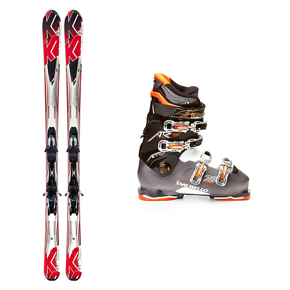 Ski K2 A.M.P. Force Ski Package - The K2 A.M.P Force Ski Package is a great ski package for the mellow intermediate or the athletic beginner. The K2 A.M.P. Force skis have a 74 mm waist making it very quick edge to edge and they also have a very forgiving construction for someone who is not too aggressive on their skis. The Composite Core and Cap Construction do not require a lot of force or power to get the ski to react. The rocker in the tip gives you easy turn initiation at slow speeds, stability through the middle of the turn and an easy exit out of your turn. The K2 Mod Monic Dampening System helps smooth out the negative vibrations that are caused by firm snow or speed. Your Dalbello Aerro 75 Ski Boots has a Super Comfort Liner which is very soft and cushy that will keep you warm all day. The Polycarbonate buckles are easy to clasp and the middle two are micro adjustable to keep your foot secure. A ski/walk mechanism will help you walk to the slopes with ease and have you ready to hit the dance floor at the aprs party. If you cruise the greens and blues but are eyeing the black diamond trails, the K2 A.M.P. Force Ski Package will help build your confidence and skill level so you can one day test out the more challenging terrain. . Tip/Waist/Tail Widths: 118/74/103mm .174cm, Actual Turn Radius @ Specified Length: 17m (@ 174cm), Core Name: Composite, Actual Flex: 75, Cuff Alignment: None, Type: Frontside Skis ( - $476.95