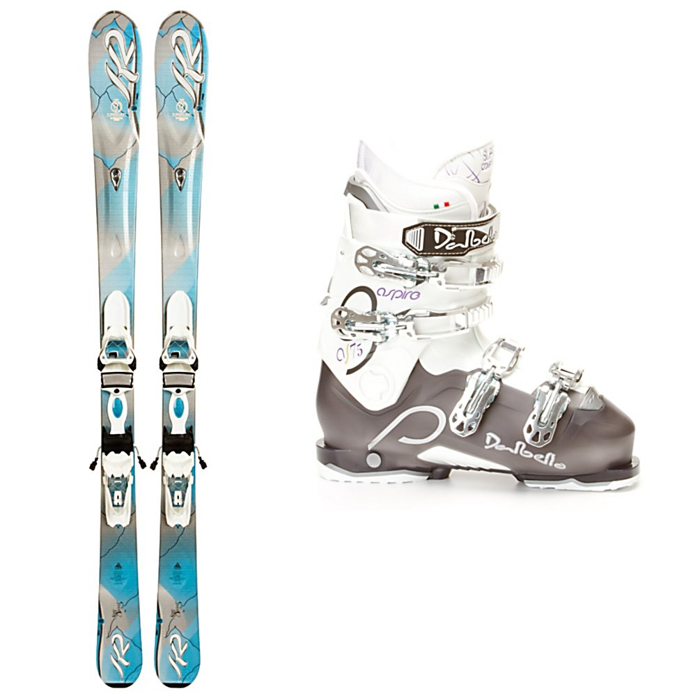 Ski K2 SuperSweet Womens Ski Package - Whether you're a beginner or a mellow intermediate or a teen wanting her first pair of adult skis, the K2 SuperSweet Ski Package is the one for you. The SuperSweet Skis have K2s Catch Free Rocker which will help you initiate a turn quicker and release you out of a turn easier so you will be growing in both skill and confidence quickly. The Mod Monic Dampening System will keep your skiing feeling smooth and chatter free. A cap construction, and composite core helps ensure these skis stay lightweight and forgiving so you don't have to put a lot of force or energy into the ski to make it respond. The Dalbello Aspire 75 Ski Boots has a Low Contour Cuff Profile designed specifically for the shorter, fuller female leg shape for a comfortable and secure fit. The 105mm last with a squared off toe box is very wide and comfortable to keep you out on the slopes and enjoying yourself all day. The Aspire 75s Supercomfort Lady Fit Liner is thick, soft and plush to keep you comfortable and warm all day. If you love cruising on the greens and blues then you'll want to go with the mellow and smooth K2 SuperSweet Ski Package. . Actual Flex: 75, Construction Type: Cap, Special Features: Catch Free Rocker, Ski Boot Width: Wide (104-106mm), Max Din Setting: 3-10, Rocker: Rocker/Camber/Rocker, Binding Weight Range: 80-190 lbs., Flex: Medium, Skill Range: Beginner - Advanced Intermediate, Model Year: 2013, Product ID: 307035, Ski Gear Intended Use: All Mountain, Ski Boots:: Dalbello Aspire 75 Ski B - $539.98