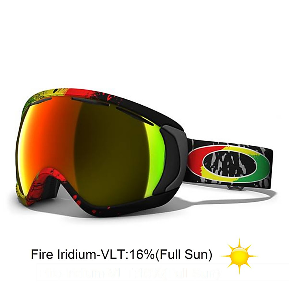 Ski Oakley Canopy Tanner Hall Goggles - Tanner Hall a killer on the cold stuff, but even when he is slaying the comps in a frostbite freeze, his inspiration comes from a tropical zone. Jamaican rhythms move Tanner Hall, and his Signature Series goggle salutes the Lion of Judah. You do not conquer the impossible without lionhearted attitude, so the mane of a lion became the backdrop for a riot of color that carries Rasta red, yellow and green. Do not settle for the tunnel vision of ordinary goggles. When Oakley engineered the Canopy, they expanded the lens volume and created a low-profile frame design. That means you will enjoy a wide-open view with maximized peripheral and downward vision. The razor-sharp optics take advantage of Plutonite lens material that filters out 100% of all UV, and with the combination of dual vented lens architecture and F3 anti-fog coating, you will have superior protection against the threat of fog ups. Our O-Flow Arch technology makes the simple act of breathing a lot easier. For even more comfort, the face foam is a triple layer with moisture-wicking fleece, and the O Matter chassis stays flexible in bone-chilling weather while the strap anchor plates distribute pressure evenly. The wide, adjustable strap has silicone lining to stay securely in place. Canopy is designed for improved compatibility with helmets and most prescription eyewear frames. As far as protection goes, this Oakley goggle meets the impact resistance standards of ANSI Z87.1 and EN 174:2001. Features: UV protection of - $114.99