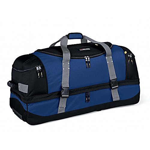 Entertainment High Sierra A.T. Gear Classic 36-Inch Wheeled Duffel Bag - Everything you need to get from point A to point B and back again. Quickly converts from a wheeled duffel to a backpack, its cavernous main storage space and convenient drop-bottom compartment ensures you'll never have to leave anything behind. Features: Inline skate-style wheels with corner protectors., Extendible, locking telescoping handle., Front and rear compression straps., Elastic shock cord on top., Hidden backpack straps behind a zippered bottom panel., Two bags in one. Use it as a wheeled duffel or wear it like a backpack., Adjustable exterior compression straps help keep gear secure.. Material: 600D Duralite, ID Tag: No, Side Pocket: No, Model Year: 2013, Product ID: 141157 - $119.99