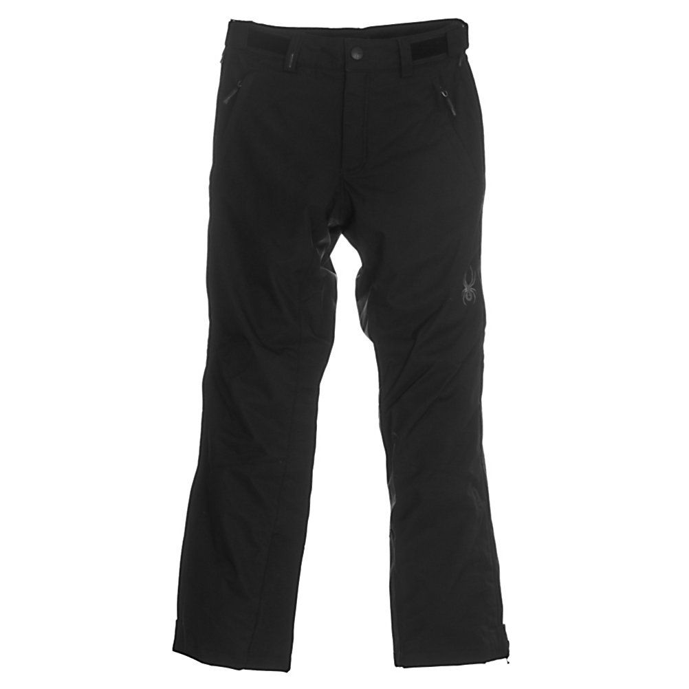 Ski Spyder Tarantula Shell Mens Ski Pants - Dependable and comfortable, the Spyder Tarantula Shell Ski Pants offer a highly breathable and waterproof way to take on the mountain. Spylon DWR, Durable Water Resistant, blocks surface moisture from seeping inward and guards against water and oil-based stains. High back and removable suspenders give you a customized fit every time whether you're wearing a lot of layers for the frigid winter conditions or going light for those beautiful blue sky days. Hike up a pair of these Tarantula Shell Ski Pants by Spyder and enjoy a classic, awesome day on the mountain. . Exterior Material: Polyester Oxford with Xt.L Laminate and Spylon DWR, Softshell: No, Insulation Weight: N/A, Taped Seams: Critically Taped, Waterproof Rating: 20,000mm, Breathability Rating: 20,000g, Thigh Zip Venting: No, Suspenders: Suspenders Removable, Articulated Knee: Yes, Cargo Pockets: No, Warranty: Lifetime, Race: No, Waterproof: Totally Waterproof (20,000mm+), Breathability: Very High Breathability (>15,001g), Use: Ski, Type: Shell, Cut: Regular, Lining Material: Nylon Taffeta, Waist: Adjustable, Pockets: 1-2, Model Year: 2012, Product ID: 238151 - $94.95