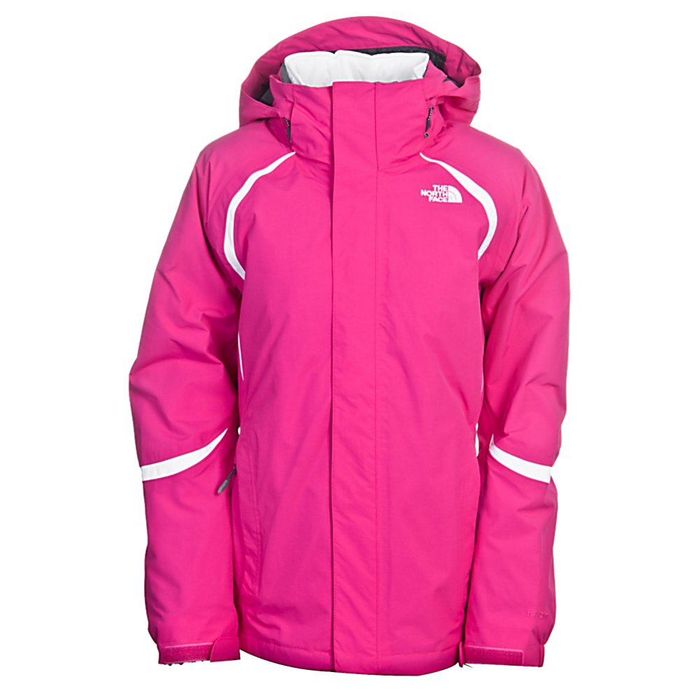 Ski The North Face Deuces Triclimate Womens Insulated Ski Jacket - The North Face Deuces Triclimate Womens Insulated Ski Jacket has new wind-resistant features, is a lightly insulated alpine jacket with feminine, flattering, quilting lines at front with lightweight-yet-warm Heatseeker Eco insulation beneath. Zip-in compatible with complementing The North Face outerwear provides ability to combine another jacket for additional coverage. This jacket offers the options of a shell, a fleece and an insulated jacket all in one. The Deuces Triclimate Womens Jacket offers and adjustable hem system, an internal goggle pocket, a pant to jacket connection, a powder skirt and a detachable hood, giving you all the amenities you need for a comfortable day out on the hill, whether it be in waist deep powder or on a sunny day out on the groomers. Features: Internal goggle pocket, Snap-back powderskirt with gripper elastic, Pant-a-locks, Adjustable hem system, Hook-and-loop adjustable cuffs, Triclimate Zip-in compatible, Handwarmer zip pockets, . Waterproof Rating: 675mm, Breathability Rating: 675g, Hood Type: Removable, Pit Zip Venting: No, Pockets: 4-5, Electronics Pocket: Yes, Goggle Pocket: No, Powder Skirt: Yes, Hood: Yes, Warranty: Lifetime, Breathability: Low Breathability (< 4000g), Cuff Type: Snap, Wrist Gaiter: No, Waterproof Zippers: Yes, Cinch Cord Bottom: No, Insulator: No, Model Year: 2012, Product ID: 231214, Shipping Restriction: This item is not available for shipment outside of the United States., Waterproof: Water Resistant (1000mm), Insul - $129.99
