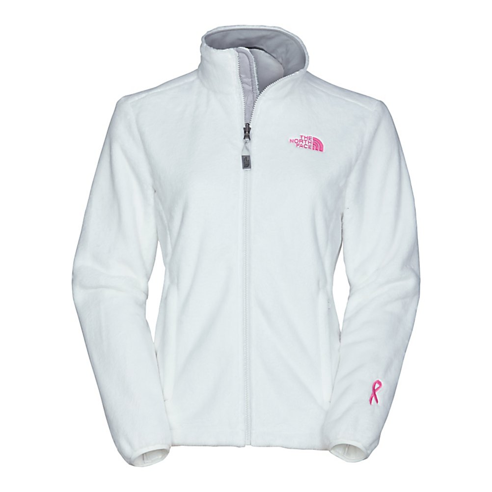 Ski The North Face Pink Ribbon Osito Womens Jacket - The North Face Pink Ribbon Osito Womens Jacket is comprised of an incredibly soft, silken fleece, this full zip jacket keeps female explorers warm and comfortable beneath its lavish fabric. Designed to be worn as a causal outer layer in cold weather conditions, sport the Osito Jacket on down-time around base camp, or on romps around town. Snuggle up inside the high-loft warmth of this silky fleece jacket. Brushed collar lining is easy on the neck and durable elastic-bound cuffs with concealable snap closures keep the cold out no matter what the conditions are. A hem cinch cord keeps out drafts. This fleece jacket is zip-in compatible with other The North Face jackets. Boarding for Breast Cancer is a non-profit, youth focused education, awareness and fundraising foundation. Recognizing the importance of this mission, The North Face has teamed up with them to create a unique collection of stylish, high performance fleece and will make an annual donation to help support their journey to educate and inspire young adults. Features: Elastic-bound cuffs, Hem cinch cord. Exterior Material: Silken fleece, Insulation Weight: N/A, Taped Seams: None, Waterproof Rating: N/A, Breathability Rating: N/A, Fleece Weight: Mid, Hood: No, Warranty: Lifetime, Battery Heated: No, Race: No, Type: Fleece, Cut: Regular, Length: Short, Insulation Type: Fleece, Waterproof: None, Breathability: Not Specified, Waterproof Zippers: No, Closure Type: Full Zip Top, Wind Protection: No, Pockets: 1-2, Model Yea - $99.00