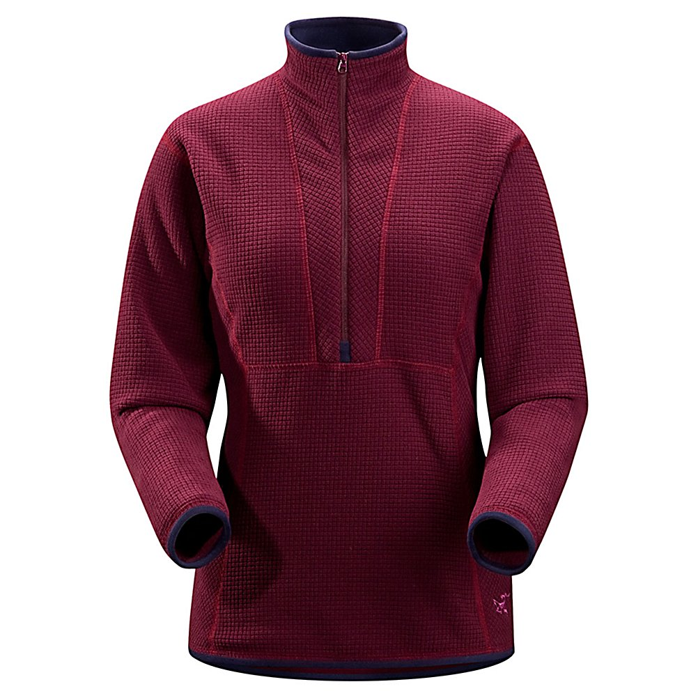 Ski Arc'teryx Delta AR Zip Neck Fleece Womens Mid Layer - Schooled in versatility, the Arc'teryx Delta AR Zip is an efficient mid-layer that traps heat and packs small. You will fall in love with the texture of this fabric the more that you wear this high end 1/4 zip fleece. The Polartec Thermal Pro High Loft supersoft grid fabric makes layering easy while the deep zip vents heat and the long and trim athletic cut tucks in to keep snow out. The high loft fleece of this Delta AR Zip provides exceptional breathability and moisture management properties while it's high warmth-to-weight ratio makes it an ideal insulation layer for active use in cold climates. Compressible and easy to pack, you can bring this handy layer along to keep you comfy while you belay your climbing partner or settle in to evening camp. Features: Chest Half Zip, Weight is 273g / 9.6 oz (Medium Size), Easy to Pack for Trips, Ideal for Mid-Layering , Gridded Fabric. Insulation Weight: N/A, Hood Type: None, Material: Polartec Thermal Pro High Loft grid, Fleece Weight: Mid, Category: Mid-Weight, Hood: No, Warranty: Lifetime, Battery Heated: No, Closure Type: Partial Zip Top, Wind Protection: No, Type: Turtlenecks and Layering, Weatherproof: Yes, Material: Synthetic, Pockets: None, Wicking Properties: No, Sleeve Type: Long Sleeve, Water Resistant: N/A, Model Year: 2012, Product ID: 198074 - $69.95