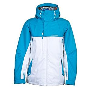 Ski Oakley White Smoke Mens Insulated Ski Jacket - The perfect blend of style and function, the Oakley White Smoke Mens Insulated Ski Jacket is available in great bold patterns. Constructed with a Coated Dobby Poly fabric providing you with a 10K Waterproof/15K Breathability rating keeps out the elements so you can enjoy the ride. The Oakley White Smoke Jacket is back by 80 grams of Thinsulate Insulation for superior warmth. To keep you from overheating on the slopes Oakley has included chest vents that can be opened to help you regulate your core temperature. The fixed hood is great when you need it, and for the times you don't the magnet system will keep it back and out of your way. If you decide to take on the backcountry, hook the storm skirt to compatible Oakley pants to ensure your jacket stays put if you make a less than graceful decent. Features: Adjustable Cuffs, Fixed Snap Storm Skirt. Exterior Material: Coated Dobby Poly, Softshell: No, Insulation Weight: 80g, Taped Seams: Fully Taped, Waterproof Rating: 10,000mm, Breathability Rating: 15,000g, Hood Type: Fixed, Pit Zip Venting: Yes, Pockets: 4-5, Electronics Pocket: Yes, Goggle Pocket: Yes, Powder Skirt: Yes, Hood: Yes, Warranty: One Year, Use: Ski, Battery Heated: No, Race: No, Rain Jacket: No, Type: Insulated, Cut: Full, Length: Medium, Insulation Type: Synthetic, Waterproof: Mildly Waterproof (1001mm-4999mm), Breathability: High Breathability (9000g-15,000g), Cuff Type: Velcro, Wrist Gaiter: No, Waterproof Zippers: No, Cinch Cord Bottom: Yes, Insulator: No, Model Year: 2012, Product ID: 246308 - $129.99