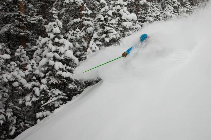"Snowboard If you look up face shots in the dictionary, we're pretty sure this is the photo you'd find! Here's our friend Owen enjoying 10"" of fresh powder in Snowmass this morning."