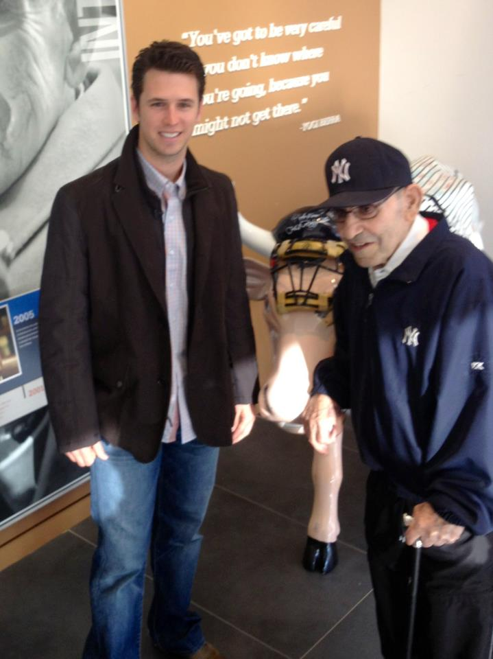 Sports Today the World Series Trophy made a visit to the Yogi Berra Museum in New Jersey. A special moment, 2012 MVP meets the 3 time MVP Yogi Berra.