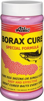Fishing Cure your own salmon or steelhead eggs with Atlas Mikes special borax formula. It preserves natural fish-attracting scents from fresh roe. Cured eggs can be refrigerated for months or frozen for up to a year. Easy-to-use instructions printed on each container. Colors: Natural, Orange, Pink, Red. Color: Orange. Type: Egg Cures. - $4.88