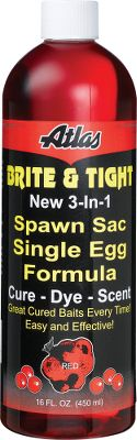 Fishing Preparing eggs and spawn sacs have never been easier or more effective. Just soak the eggs in this formula and theyre ready to go. No need for mixing or additives. Equally effective on loose single eggs, spawn sacs, cut skein eggs for spawn sacs and adding freshness and color to store-bought spawn sacs. You can also use it to rejuvenate old cured or frozen spawn sacs. Eggs treated with this cure will keep in a refrigerator for months. Size: 16-oz. bottle. Colors: Red, Pink, Orange, Natural, Chartreuse. Color: Red. - $4.88