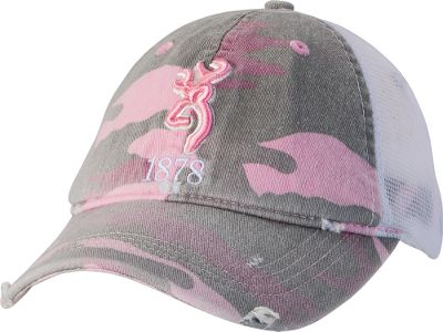 Hunting This stylishly tattered hat proudly displays a felt Buckmark logo and the classic All-Terrain camo in pink. Solid rear with a hook-and-loop closure. One size fits most. Imported. Camo pattern: Pink All-Terrain . - $22.99