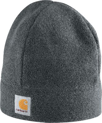 Entertainment Grab this 100% polyester Carhartt Mens Fleece Beanie for warmth on cold days. Logo label on front. One size fits most. Imported. Colors: Charcoal Heather, Carhartt Brown, Navy, Black. Carhartt Style No.: A207. Size: One Size. Color: Black. Gender: Male. Age Group: Adult. Material: Fleece. - $11.99
