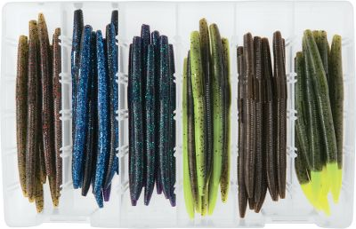 Fishing Crme invented the classic stick bait in 1949. This kit has a variety of this favorite in six, fish-catching colors. Loaded with salt to add weight and flavor, and can be rigged in a variety of ways to include wacky rigging and Texas rigging. Includes eight of each of the following colors: Black/Blue Glitter Laminate, June Bug, Watermelon/Chartreuse Laminate, Watermelon Seed/Chartreuse Tail, Watermelon Red, Green Pumpkin. Size: 5-1/4. Size: STICK BAIT KIT 48PC. Color: Black/Blue. - $8.88