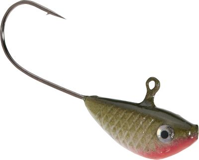 Fishing Ideal for live-bait presentations, the lifelike fish head cuts water in such a way that its held in a horizontal position. This shad presentation boasts shiny foil eyes and a three-tone paint job. Per 6. Sizes: 1/16 oz. #2 hook 1/8 oz #1 hook 1/4 oz. #1/0 hook Colors: (001)Avocado Shad, (002)Blue Shad, (008)Hot Shad, (010)Frankenstein, (013)Red Perch, (014)Lemon/Lime, (015)Perch, (016)Fire Shad. Color: Blue. Type: Specialty Jigs. - $2.99