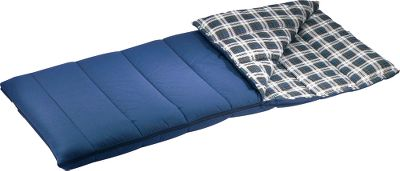 "Camp and Hike The durable polyester/cotton shell and soft cotton-flannel liner have all the traditional ingredients for camping warmth and comfort. Its generous 5-lb. polyester Triloft II fill gives it a temperature rating of +25 . Two bags zip together with full-length zippers. Roll-up straps. Machine washable. 80""L x 39""W. Imported. - $29.88"