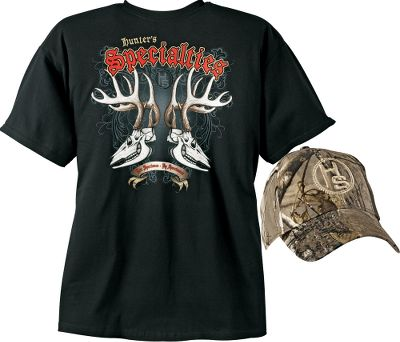 Hunting Tee has a Hunter's Specialties logo screen print on left chest and large screen print on back. Cap features Realtree AP camo, hook-and-loop closure and is one size fits most. Imported.Sizes: M-2XL.Available: Coyote, Deer, Elk. - $9.88