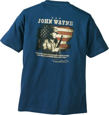A portion of sales from the John Wayne Collection shirts benefit the John Wayne Cancer Foundation. Its mission is to bring courage, strength and grit to the fight against cancer. Light and super-soft 100% cotton-knit construction. High-quality screen-printed graphics. Machine washable. Imported. Sizes: M-2XL. Colors: Cream, Prairie Dust, Harbor Blue. - $24.99