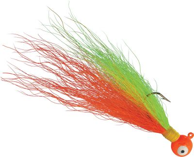 Fishing Bucktail hair, unlike synthetic fibers, is tapered, thicker at one end and thinner at the other. This produces a natural profile and realistic undulating action. Bucktails resilience means it will hold up fish after fish. Per 4. Sizes: 1/8 oz., 1/4 oz., 3/8 oz. Colors: (003)Black, (004)Yellow, (007)White, (011)Red/White, (072)Black/Orange, (096)Chartreuse, (108)Glow/Orange/Chartreuse, (121)Glow/Green/Chartreuse, (192)Black/Blue, (306)Brown/Orange. Color: Black/Orange. Type: Bucktail Jigs. - $3.49