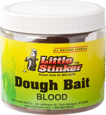 Fishing Moldable dough bait can be easily formed around any hook, and comes in a variety of catfish-approved scents. 14-oz. jar has a shelf life of 2-3 years and works on all catfish species. Available: Blood, Original, Chicken Liver. - $2.88