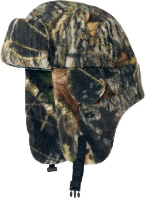 Hunting This fleece bomber hat has all the same features as the traditional rabbit-fur-lined version, but is lightweight, machine-washable and affordable. Polar fleece keeps the cold out, and a polyester lining in the crown provides less friction against your scalp and hair. The long earflaps buckle up on top of the head when you need more ventilation, and smaller flaps directly over the long earflaps open up for improved hearing outdoors without forfeiting warmth over your ears. 100% polyester. Imported. Sizes: M-XL.Camo pattern: Mossy Oak New Break-Up. - $9.99