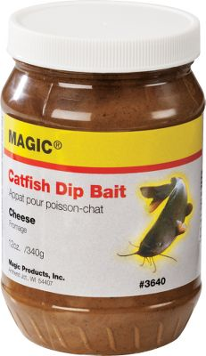 Fishing Dip your sponge or worm in this powerful bait to attract huge catfish from a distance. Strong currents wont wash the extra-sticky formula off lures and hooks. Size: 12 oz. Available: Cheese, Blood. Type: Catfish Bait. - $3.88