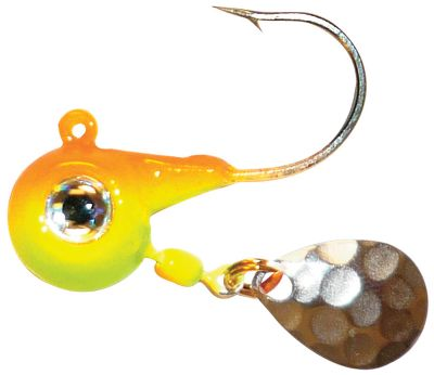 Fishing Loud, eye-catching performance will have bass, walleye and panfish lining up for a piece of the action. The Fire-Ball Spin Jig combines the noisy, thumping belly blade of Northlands Thumper Jig with the short-shank, wide-gap hook of the Fire-Ball Jig. Its a truly lethal combination thats been proven to lure in the big boys and entice em to strike. Add on a minnow, crawler or leech and hit your limit in record time. Per 2. Sizes: 1/8 oz., 1/4 oz., 3/8 oz. Colors: Fathead, Firetiger, Glow Watermelon, Sunrise. Color: Sunrise. - $2.79