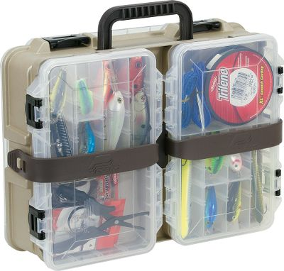 Fishing Double-sided tackle box features fixed and removable storage options. Strong, flexible strap holds two 3650 Stowaway utility boxes securely in place. DuraView lid and four to nine adjustable compartments on fixed side. Dimensions: 15.4L x 11.9Wx 4.9H. - $24.99
