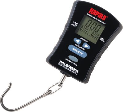 Fishing Weigh and track your catch with ease and convenience. This compact scale can display weight in lbs./oz., decimal lbs. or kg. increments. Eight separate bins store weights and keep a tally of your total weight. Total bin weights continuously displayed. Backlit display is visible in low light. 50-lb. limit. - $32.99