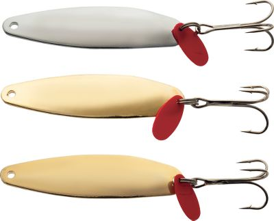 Fishing With a sleek profile and flashy wobbles, this spoon is ideal for casting and jigging presentations in both saltwater and freshwater. Plated for corrosion resistance. Each package contains two gold- and one silver-plated, polished spoons. Each spoon has a treble hook and red-lure flipper that mimics a baitfish with an injured tail. Per 3. Sizes: 1/2 oz., 1/4 oz. - $7.99