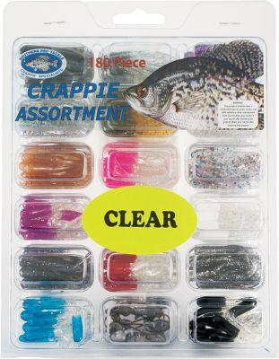 Fishing From crystal-clear to murky waters, this 180-piece kit lets you quickly customize your color to match any level of water clarity. Includes 170, 1.5 tubes and 10, 1/32-oz. minnow-head jigs. Gear comes in a locking, compartmentalized box. Colors may vary. Available kits: Clear Water, Muddy Water. Size: MUDDY WATER. Color: Clear. - $8.88