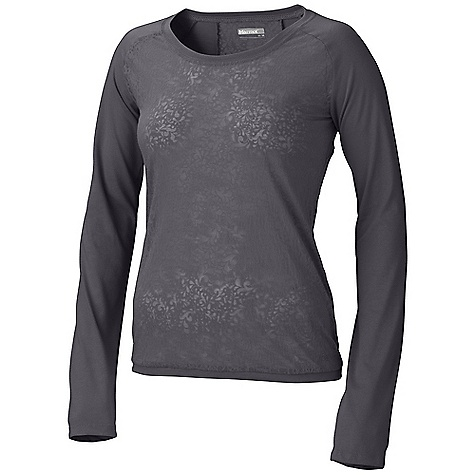 Marmot Women's Ellie LS Top DECENT FEATURES of the Marmot Women's Ellie Long Sleeve Top Soft, Comfortable, Lightweight Knit Fabric Burnout Pattern Raglan Sleeve Tag-Free Neckline Garment Washed for Soft Hand The SPECS Weight: 4 oz / 113.4 g Fit: Regular 65% Polyester 35% Cotton 4.0 oz/yd - $44.95