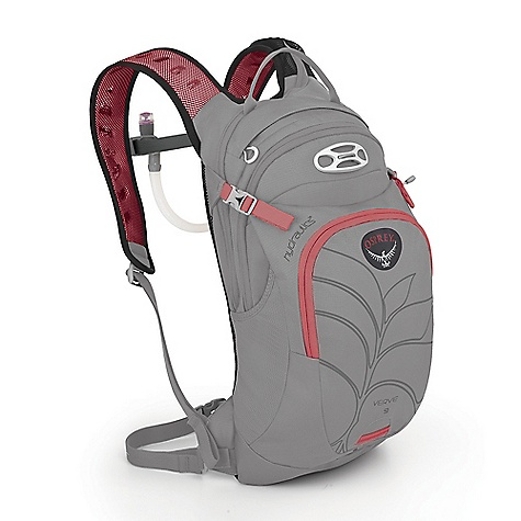 Free Shipping. Osprey Women's Verve 9 Pack DECENT FEATURES of the Osprey Women's Verve 9 Pack AirScape backpanel with perforated foam provides cushion and ventilation Ventilated harness is light and breathable 20mm webbing hipbelt keeps packs stable Unique New hydration sleeve design with direct access zip for fast loading LidLock clip quickly secures helmet Versatile front shove-it pocket for quickly stashing extra gear Main compartment with sleeves for pumps Top zip access sunglass pocket with protective embossed fabric Blinker light attachment patch and reflective graphics for safety Magnetic sternum buckle for quick access to the reservoir bite valve Women's specific shoulder straps, hipbelt and torso sizing 3L Hydraulics Reservoir included Mesh Backpanel Creates a lightweight, yet supportive and ventilated backpanel Biostretch Ventilated Harness Built-in magnet for quick bite-valve attachment Sternum strap with magnetic hose attachment EVA foam is perforated with large holes for enhanced breathability and comfortable stretch Breathable spacer mesh creates soft, irritation free contact surface Detachable Webbing Hipbelt Modified-Straight ErgoPull hipbelt closure The SPECS 210D polyester triple diamond ripstop 600D polyester Volume: 549 cubic inches / 9 liter Weight: 1 lb 1 oz / 0.49 kg Reservoir Weight: 11 oz / 0.31 kg Dimension: (H x W x D): 18 x 9 x 7in. / 45 x 22 x 18 cm - $99.00