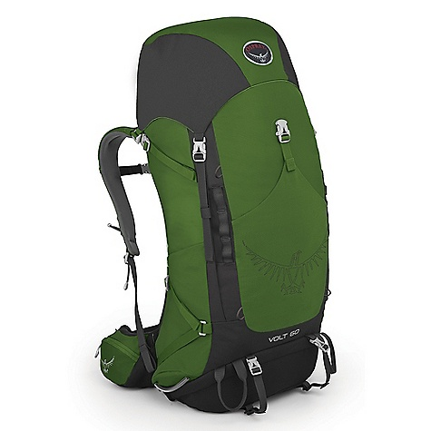Camp and Hike Free Shipping. Osprey Volt 60 Pack DECENT FEATURES of the Osprey Volt 60 Pack External hydration sleeve in backpanel simplifies refilling and protects pack contents from spills Floating top pocket can extend to handle overloads Large stretch-mesh front pocket for quickly stashing extra gear Wide-mouth access sleeping bag compartment with divider Zippered hipbelt pockets provide secure storage Stow-on-the-Go trekking pole attachment Dual access mesh side pockets Dual side compression straps Removable sleeping pad straps Two ice axe loops Suspension LightWire peripheral frame effectively transfers load to hipbelt Torso length is precisely and easily adjustable over a 5in. / 13 cm range to provide an exact fit Fit-on-the-Fly hipbelt extends up to 3in. / 7.5 cm on each size to provide custom fit Spacer mesh covered lumbar and backpanel pads offer cushioning and ventilation The SPECS 210D nylon double ripstop 600D poly Torso length: 17in. / 43 cm, 22 in. / 56 cm Custom Fit: 28in. / 71 cm, 44in. / 112 cm Volume: 3661 cubic inches / 60 liter Weight: 3 lbs 9 oz / 1.61 kg Dimension: (H x W x D): 32 x 13 x 10in. / 82 x 33 x 26 cm - $179.00