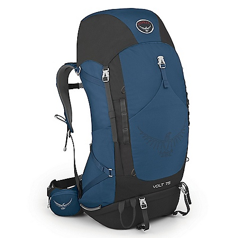 Camp and Hike Free Shipping. Osprey Volt 75 Pack DECENT FEATURES of the Osprey Volt 75 Pack External hydration sleeve in backpanel simplifies refilling and protects pack contents from spills Floating top pocket can extend to handle overloads Large stretch-mesh front pocket for quickly stashing extra gear Wide-mouth access sleeping bag compartment with divider Zippered hipbelt pockets provide secure storage Stow-on-the-Go trekking pole attachment Dual access mesh side pockets Dual side compression straps Removable sleeping pad straps Two ice axe loops Suspension LightWire peripheral frame effectively transfers load to hipbelt Torso length is precisely and easily adjustable over a 5in. / 13 cm range to provide an exact fit Fit-on-the-Fly hipbelt extends up to 3in. / 7.5 cm on each size to provide custom fit Spacer mesh covered lumbar and backpanel pads offer cushioning and ventilation The SPECS 210D nylon double ripstop 600D poly Torso length: 17in. / 43 cm, 22 in. / 56 cm Custom Fit: 28in. / 71 cm, 44in. / 112 cm Volume: 4577 cubic inches / 75 liter Weight: 3 lbs 12 oz / 1.71 kg Dimension: (H x W x D): 33 x 13 x 11in. / 83 x 33 x 29 cm - $199.00