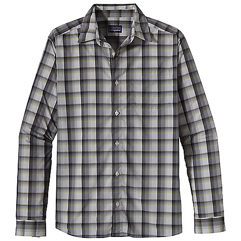 Free Shipping. Patagonia Men's L-S Gone Again Shirt DECENT FEATURES of the Patagonia Men's Gone Long Sleeve Again Shirt Made of a lightweight and stretchy nylon/ polyester blend with 30-UPF sun protection Easy care and quick-drying button front shirt left chest drop-in pocket with flap The SPECS Regular fit Weight: 5.5 oz / 156 g 2.3-oz 52% nylon 48% polyester plain weave with 30-UPF sun protection This product can only be shipped within the United States. Please don't hate us. - $79.00