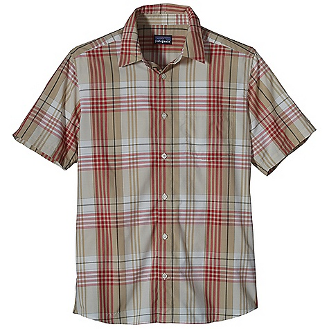 Free Shipping. Patagonia Men's Gone Again Shirt DECENT FEATURES of the Patagonia Men's Gone Again Shirt Made of an easy care, lightweight and stretchy nylon/ polyester blend with 30-UPF sun protection Quick-drying, button-front shirt left chest drop-in pocket with flap closure Shirttail hem The SPECS Regular fit 2.3-oz 53% nylon, 48% polyester plain weave, with 30-UPF sun protection This product can only be shipped within the United States. Please don't hate us. - $69.00