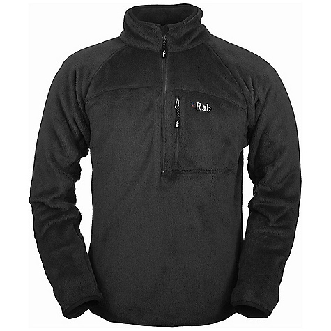 On Sale. Free Shipping. Rab Men's Boulder Pull-On Sweatshirt DECENT FEATURES of the Rab Men's Boulder Pull-On Sweatshirt Deep venting YKK chest zip, chin guard YKK zipped chest pocket Lycra bound collar, cuffs, hem Fit: Regular The SPECS Weight: 16 oz / 440 g Fabric Weight/m2: 308g/m2 Fabric Comp: 100% polyester velour solid This product can only be shipped within the United States. Please don't hate us. - $63.99