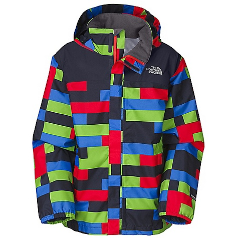 Snowboard Free Shipping. The North Face Boys' Printed Resolve Jacket DECENT FEATURES of The North Face Boys' Printed Resolve Jacket Waterproof, breathable, fully seam sealed Mesh-lined body Brushed collar lining Hood stows in collar Zippered hand pockets Center front zip and Velcro closure Elasticized cuffs Chin guard flap ID label Embroidered logo at left chest and back right shoulder The SPECS Average Weight: 13 oz / 360 g Center Back Length: 23.5in. Body: 75D 105 g/m2 HyVent 2L-100% polyester plain weave Lining: 50D 50 g/m2 100% polyester small-hole mesh This product can only be shipped within the United States. Please don't hate us. - $74.95
