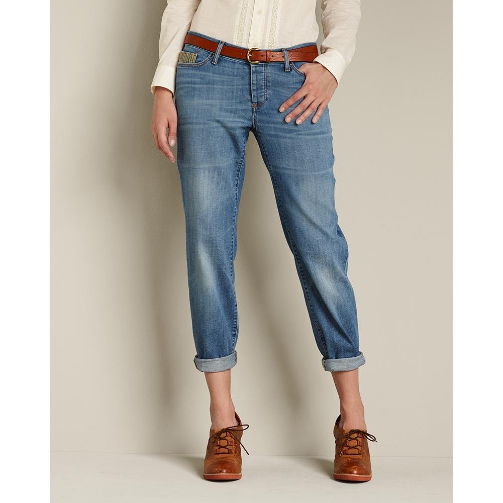 Eddie Bauer Boyfriend Embroidered-Pocket Jeans - Sits below natural waist. Relaxed hip and thigh. Crafted with an easy, relaxed fit and unique embroidered pocket details, our boyfriend jeans are sure to become one of your favorites. Back pocket pattern recalls regional Northwest designs. Straight leg. Imported. - $59.99
