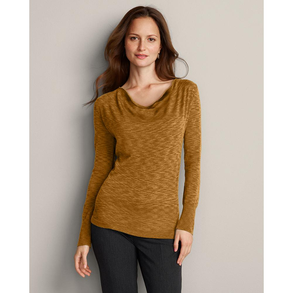 Eddie Bauer Merino Cowl Pullover Sweater - Make an elegant impression in our fine-gauge merino wool pullover sweater with a graceful neckline drape. Yarns are dyed to create a patterned effect. Slightly sheer; cami layer suggested. Classic fit. Imported. - $19.99