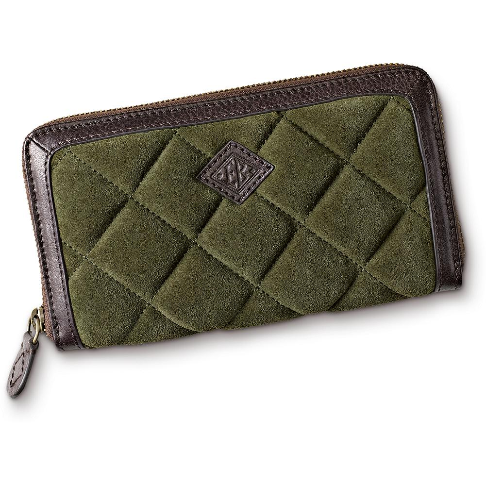 Entertainment Eddie Bauer Diamond Quilted Wallet - Made of luxurious diamond-quilted suede and finished with leather trim. Zip-around closure for security. Imported. - $79.95