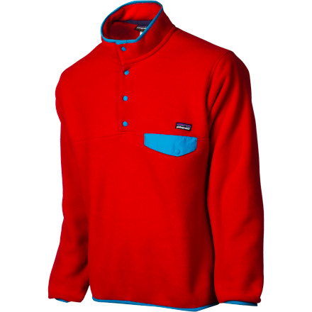 Take a walk down memory lane with the Patagonia Men's Lightweight Synchilla Snap-T Fleece Jacket. The comfy double-sided polyester fleece provides warmth and is soft next to skin while the bright colors and retro prints lend classic outdoor style. - $99.00