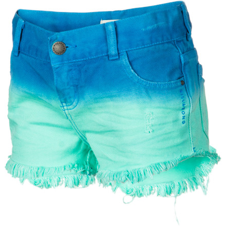 Surf The steadfast design of denim cut-offs in sweet, summery dip-dye brings the Billabong Girls' To Dye For Denim Short to the forefront of surfer-girl style. Bright, cheery hues and sassy, fringy edges look anything but old-school, but the classic five-pocket styling lets her carry her own snack money, just like you used to do. - $43.95