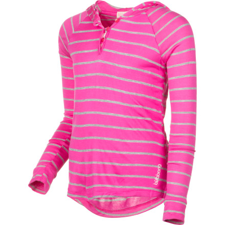 Surf The bright and girly pink-punch Billabong Girls' Word On The Street Shirt boasts a cozy hood, front placket, and raglan sleeves for everyday comfort and beach-girl style. Soft and smooth rayon-polyester knit feels light against skin on those breezy summer days. - $20.77