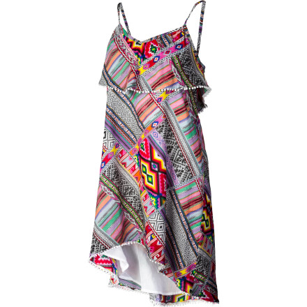 Surf No matter where you go in the intrinsically celebratory Billabong Women's Bonavista Dress, with bold colors, ruffles, and festive hem, the party will follow. Bold, cheerful print brings on the smiles, and adjustable straps and lining put you so at ease you can let loose. - $34.62