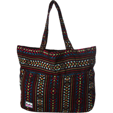 Surf Instead of juggling your beach essentials in your arms and cramming them into the fold of your beach chair, put everything securely in the Billabong Beach Cravings Tote. This colorful, yarn-dyed beach tote makes it wicked easy to carry your sun-tanning gear to the beach and pool. - $33.53