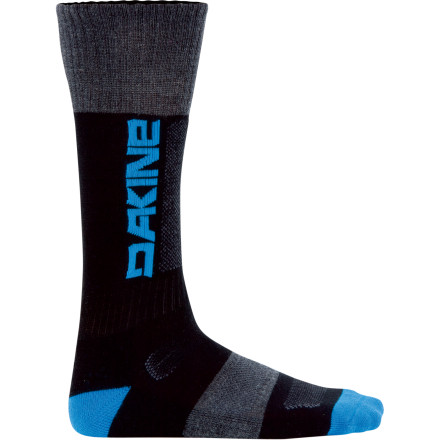 Snowboard You can thank the DAKINE Summit Sock and its cushioned, midweight performance for helping you lead the pack up the bootpack and get first pick on the untouched lines of bottomless fluff. The Summit is made of mostly merino wool for natural temperature regulation, moisture control, and breathability, and this sock keeps your foot primed thanks to cushioning in the shin, toe, and heel. A spandex ankle keeps it in place and a reversed seam in the toe takes some of the pain out of your cold plastic pits of hell. - $19.95